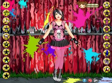 Флеш игра Эмо в черном и розовом