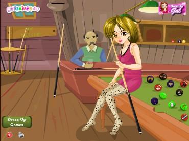 Флеш игра Девушка игрок в бильярд