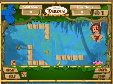 Флеш игра Докати кокос к Тарзану