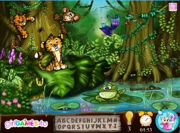 Флеш игра Скрытый алфавит в джунглях
