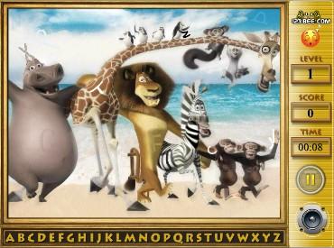 Флеш игра Мадагаскар - поиск алфавита