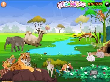 Флеш игра Расставь животных